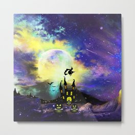 Witch in Starry Night Metal Print