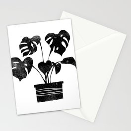 House plant linocut zen yoga black and white minimalist art prints for home Stationery Cards