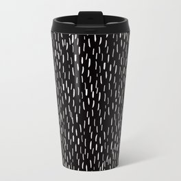 Dark Winter Night- White Strokes Lines on Black - Mix & Match with Simplicity of life Metal Travel Mug