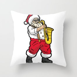 SANTA Playing SAXOPHONE Throw Pillow