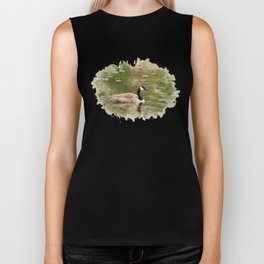 Watercolor Goose Art Biker Tank
