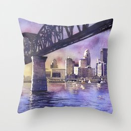 Louisville, KY skyline at sunset.  Watercolor painting of Louisville, Kentucky skyline at sunset Throw Pillow