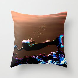 Mermaid - Neon Sunset Throw Pillow