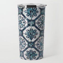 Floral ceramic tile design in blue color #Terrazzo #Blobs Travel Mug