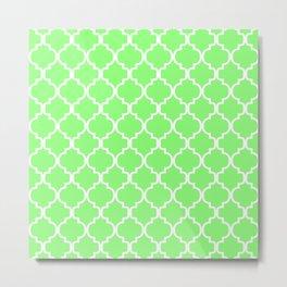 Moroccan Trellis (White & Light Green Pattern) Metal Print