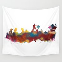 madrid Wall Tapestries featuring Madrid skyline by jbjart