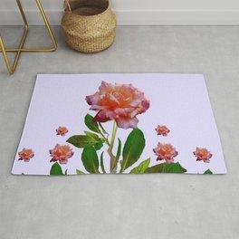 ANTIQUE PINK ROSES BOTANICAL ART Rug