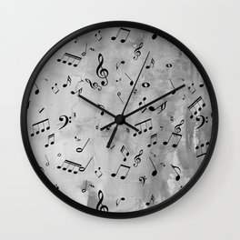 Music Notes on Gray Wall Clock