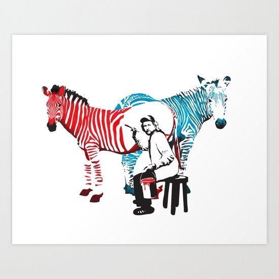 Zebra Painter print Art Print