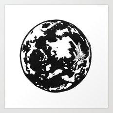 Full Moon black and white lino print Art Print