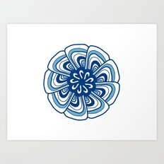 Blue & white mandala Art Print