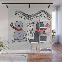 Christmas Singing Cats We Wish You A Meowy Christmas Wall Mural
