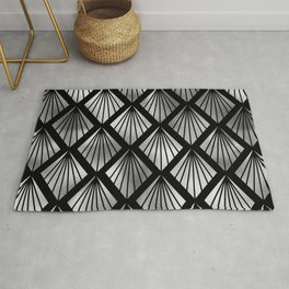 Smoky Silver Art Deco Luxurious Classic Shell Pattern Rug