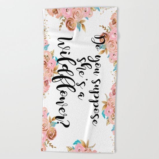 Blush and gold wildflower Beach Towel