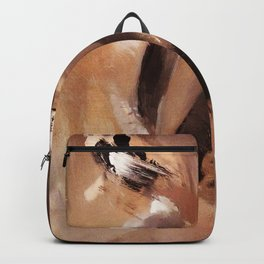 Modern abstract, Acrylic Painting Abstract, brown white woman silhouette Backpack