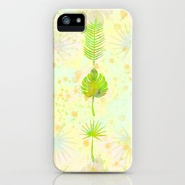 Tropical Leaf Watercolor Painting, Green Palm Tree Leaves iPhone Case