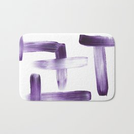 Purple Brush Strokes on White Bath Mat