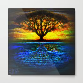 Duality Tree of Life Reflection Moon & Sun Day & Night Painting by CAP Metal Print