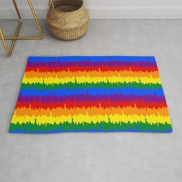 Manhattan Skyline NY Pride Rainbow Stripe Rug