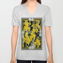 Black-Grey Art Design Yellow-White Daffodils Unisex V-Neck