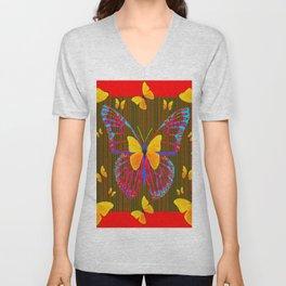 YELLOW BUTTERFLIES RED MODERN ART Unisex V-Neck