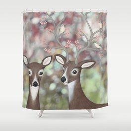 white tailed deer, warbling vireos, & cherry blossoms Shower Curtain