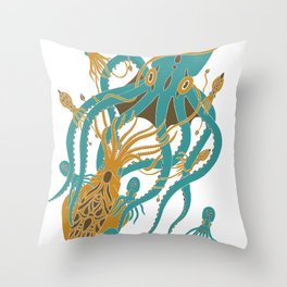 Battle of the Cephalopods Throw Pillow