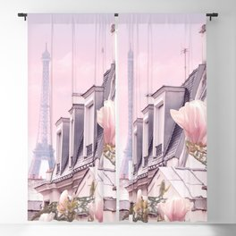 Paris with its Eiffel Tower and Magnolias - Vintage Romantic Blackout Curtain