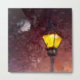 Lamp And Moon Metal Print