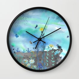 Blue Garden I Wall Clock