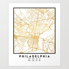 PHILADELPHIA PENNSYLVANIA CITY STREET MAP ART Art Print