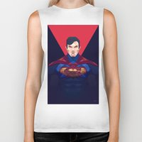 superman Biker Tanks featuring Superman by Muito