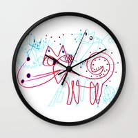 kittens Wall Clocks featuring SNOW KITTENS by Vanja Cankovic