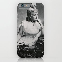 'Puss - The Woman with a Cat on her Head!' black and white humorous photograph iPhone Case