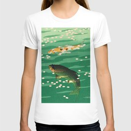 Vintage Japanese Woodblock Print Asian Art Koi Pond Fish Turquoise Green Water Cherry Blossom T-shirt