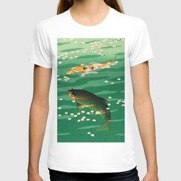 Vintage Japanese Woodblock Print Asian Art Koi Pond Fish Turquoise Green Water Cherry Blossom T-shirt