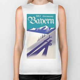 Bayern Germany vintage Ski vacation poster Biker Tank