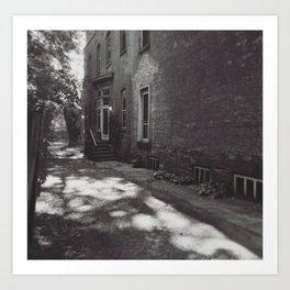 Alley with dappled sunlight Art Print