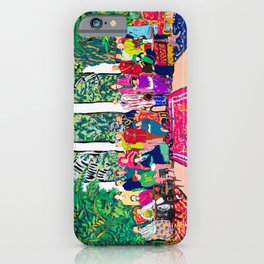 This is not a Party: Brightly colored painting of a group of people in a gigantic greenhouse with rugs and rainbow clothing iPhone Case