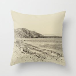 Tranquil bay view in sepia Throw Pillow