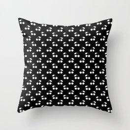 White Cherries On Black Throw Pillow