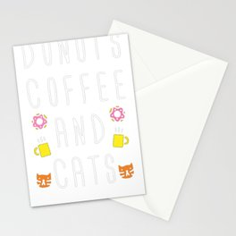 DONUTS COFFEE AND CATS T-SHIRT Stationery Cards