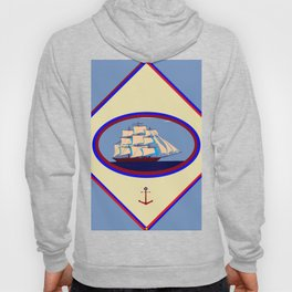 A Nautical Scene with Clipper Ship with Country Blue Background Hoody