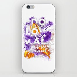 Bible verse with feathers, Scripture verses, Feather art, Purple feathers, Boho style, Micah 6:8 iPhone Skin