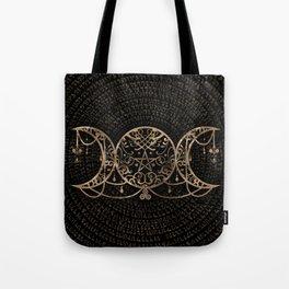 Triple Moon - Triple Goddess Gold and black Tote Bag