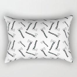 Axeistential Crisis - Black on White Rectangular Pillow