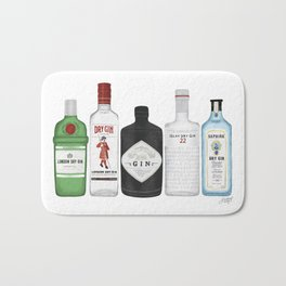 Gin Bottles Illustration Bath Mat