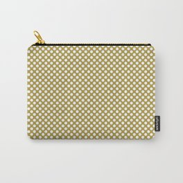 Golden Olive and White Polka Dots Carry-All Pouch