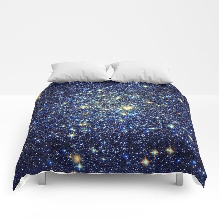 galaxY Stars : Midnight Blue & Gold Comforters