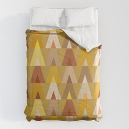 Geometric Triangles | mustard yellow taupe Comforters